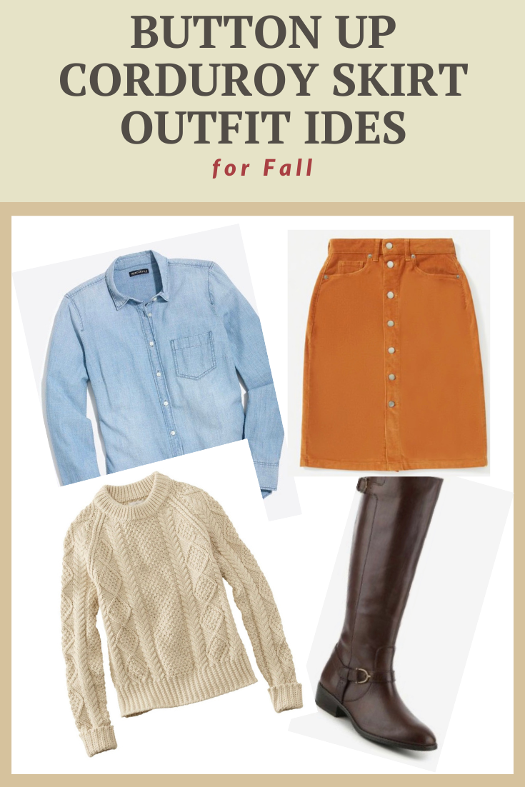 Button Up Corduroy Skirt Outfit Ideas