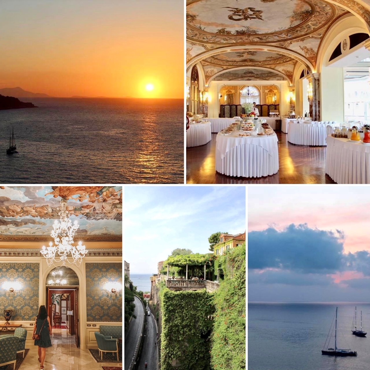 Views of the Grand Hotel Excelsior and sunset