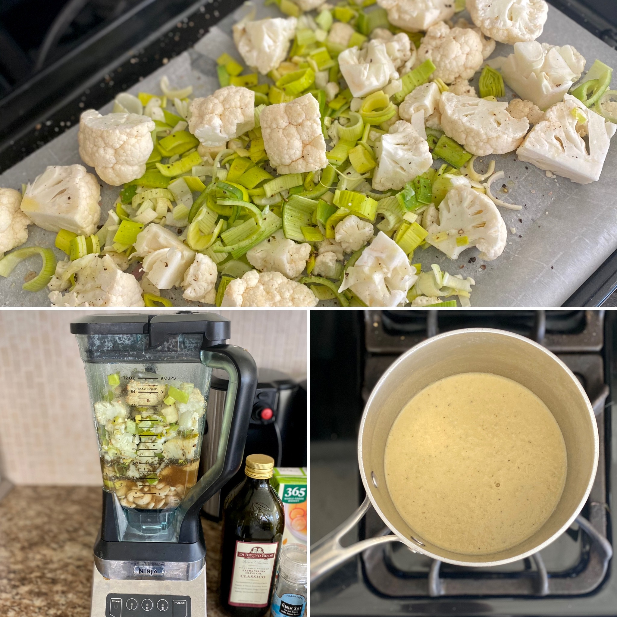Collage about making roasted cauliflower and leek soup