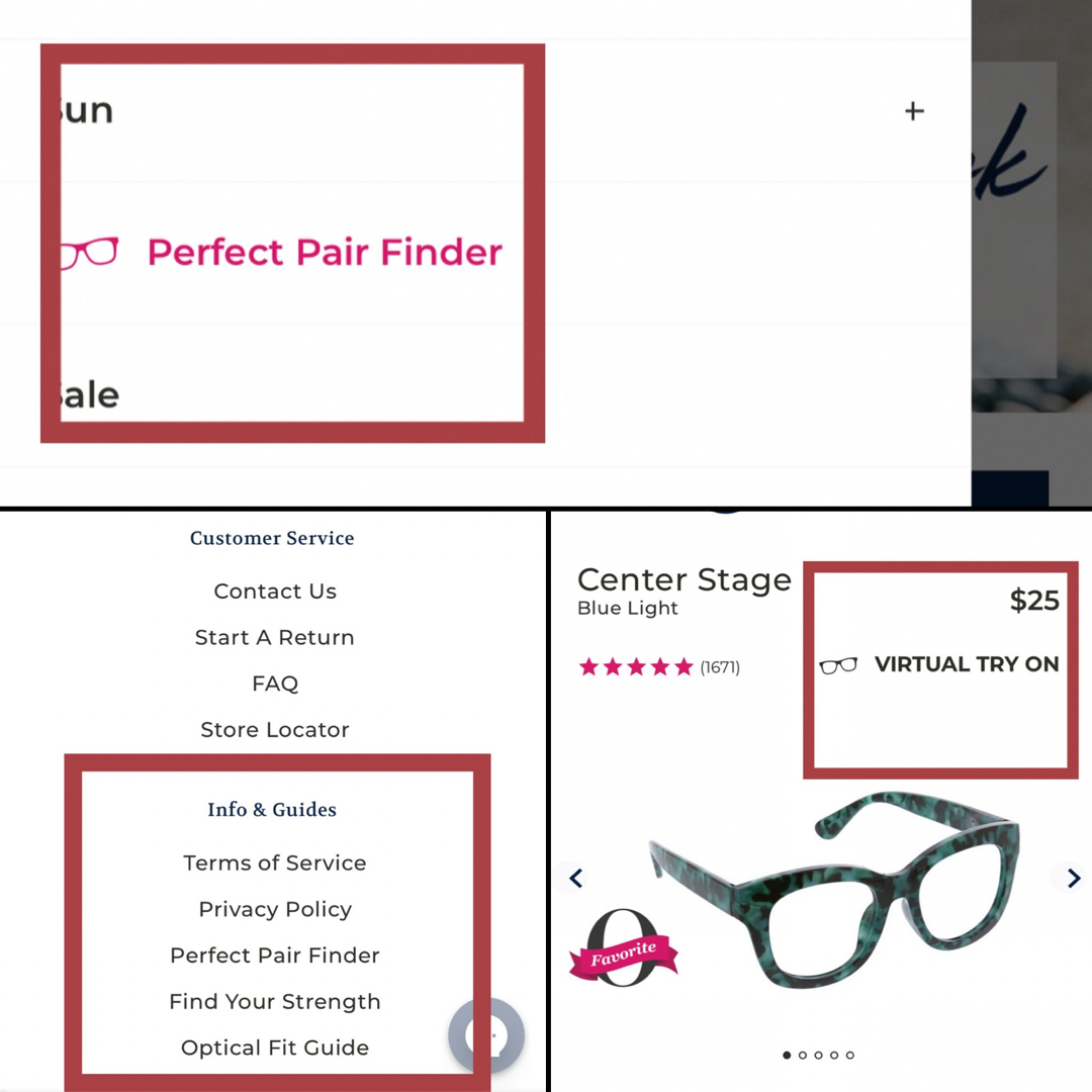 Peeper guides for selecting frames