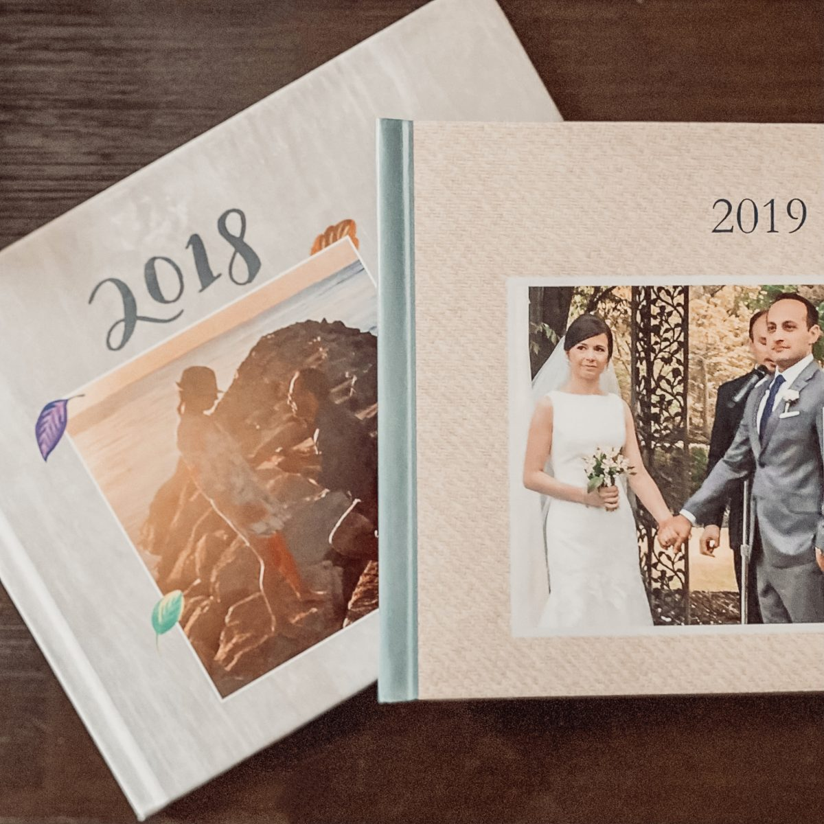 two covers of family yearbooks