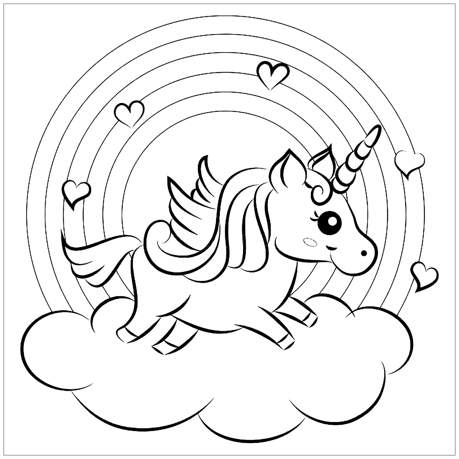 Coloring Sheet Free Unicorn Coloring Pages