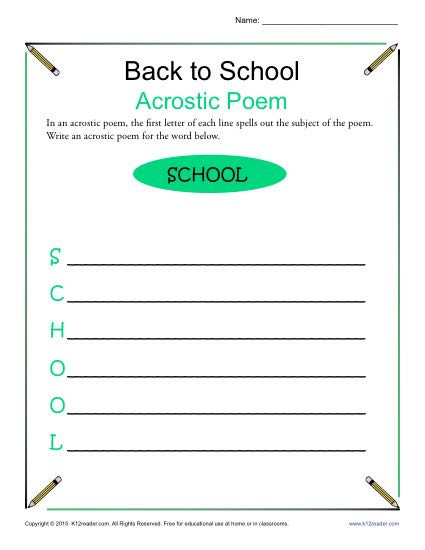 Back To School Poems 3