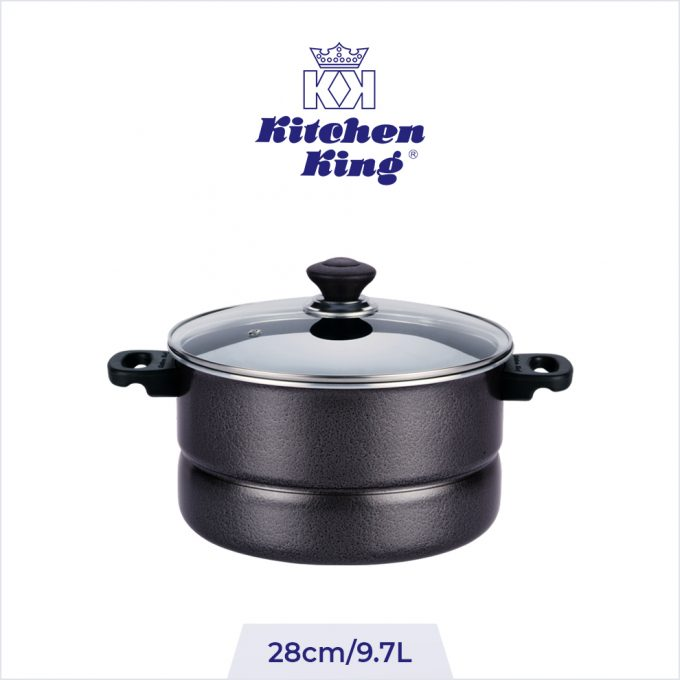 Non Stick 2 in 1 Steamer and Cooker Glass Lid 28cm