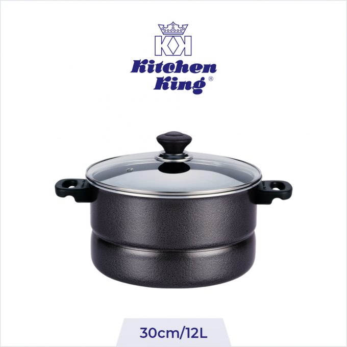 Non Stick 2 in 1 Steamer and Cooker Glass Lid 30cm