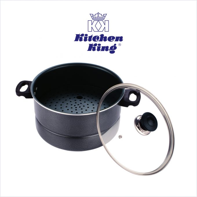 Non Stick 2 in 1 Steamer and Cooker Glass Lid 26cm