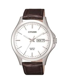 Citizen Silver Analogue Watch with Brown Leather Strap_0