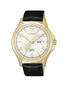 Citizen Gents Gold Analogue Watch with Black Leather Strap_0