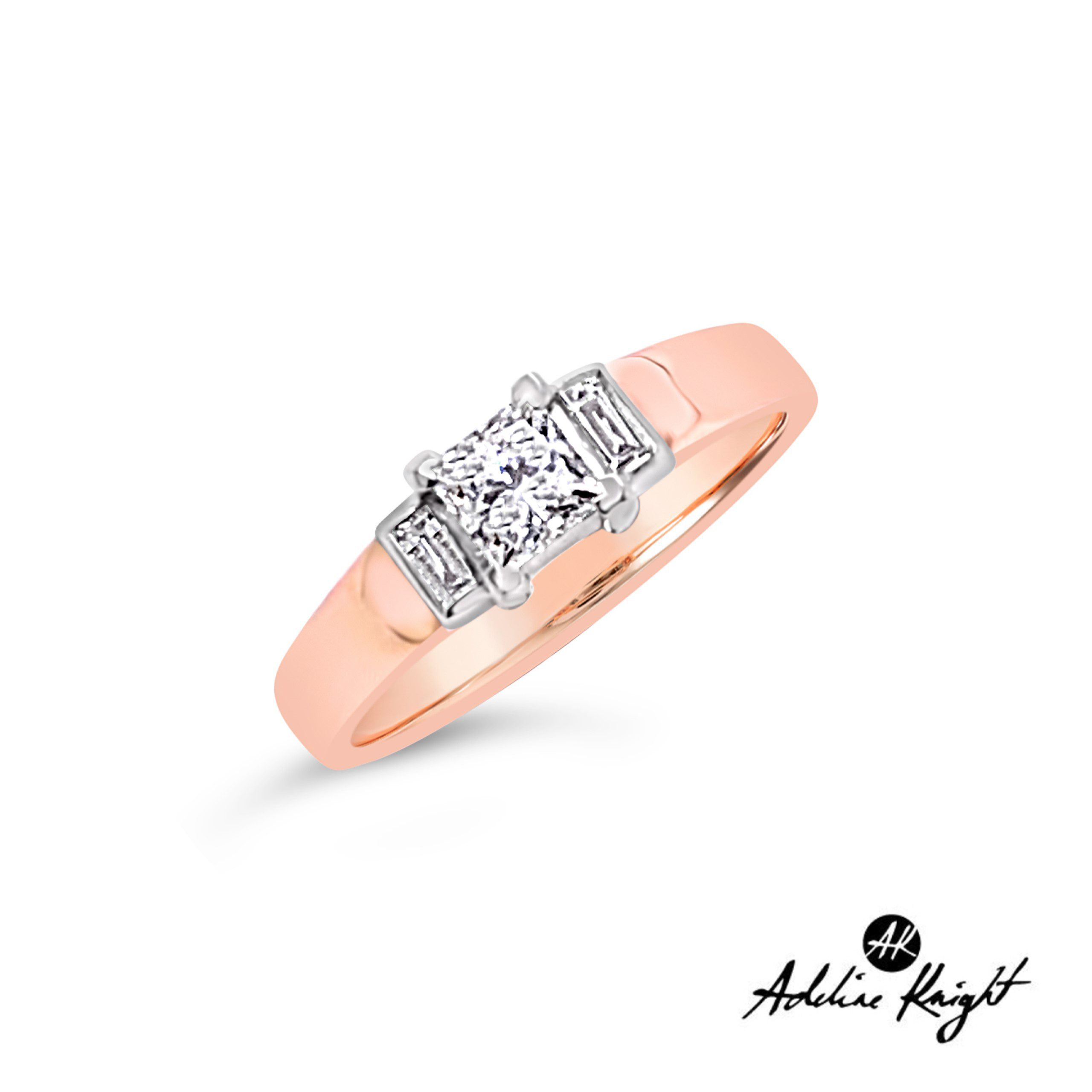 9ct Rose Gold Diamond Solitaire with Bagette Diamond Sholders TDW .62_0