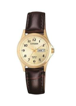 Gold lds 50mtr leather brown strap_0