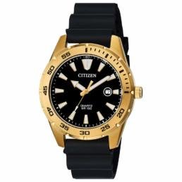 Gold and black Resin Strap 100mtr date watch_0