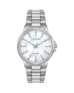Citizen Eco-Drive Ladies Silver Watch with Mother of Pearl Dial_0