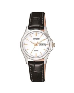 Citizen Ladies Silver/Gold Analogue Watch with Black Leather Strap_0