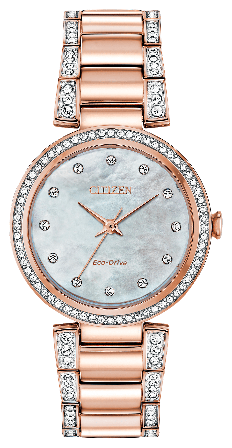 Rose Gold and Crystal Eco Drive Watch_0