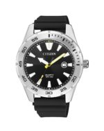 Citizen Gents Silver Analogue Watch with Black Strap_0