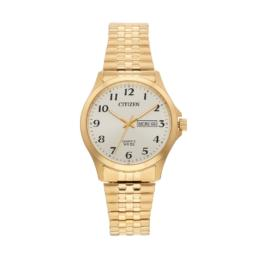 Gold Anagloge Stretch Band Clear Dial with day date 50mt WR Watch_0