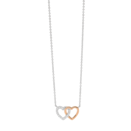Silver Double Heart Necklace CZ Rose Gold Plated_0