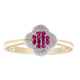 Ruby and Diamond Cluster Ring_0