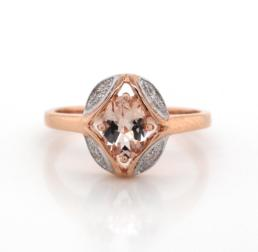 Oval Morganite 9ct Rose Gold Deco Ring_0