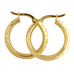 9ct yg faceted hoops, silver filled_0