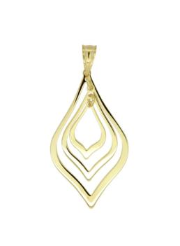 9ct Gold Silver Filled 3 drop pendant_0