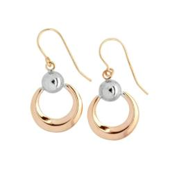 9ct Rose and White Gold Drop Hook Earrings_0