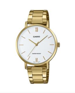 Gold Casio White Face Analoge Dress Watch_0