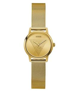 Guess Ladies Micro Imprint Gold Analogue Watch With Mesh Strap_0