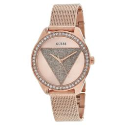 Guess Ladies Rose Gold Triangle Stone Set With Mesh Strap_0