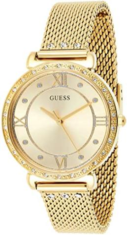 Guess ladies analogue gold stone set watch with mesh strap_0
