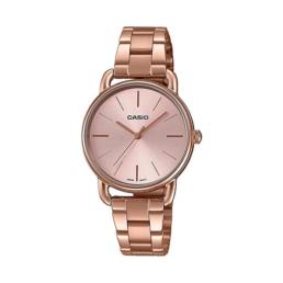 Casio Ladies Analog Pink Gold Ion Plated Stainless Steel Band Watch_0