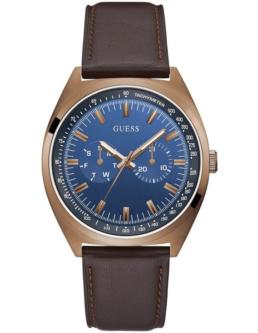 Guess Gents Blazer Coffee& Blue Analogue With Brown Leather Strap_0