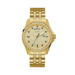 Guess Comet Gents Stone Set Analogue/ Date Gold Strap_0