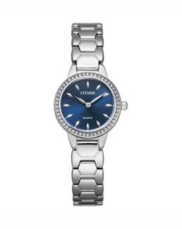 Citizen Ladies Analogue Silver Strap With Blue Face Water Resistant With Crystals_0