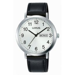 lorus gents silver ana black leather strap d.date 7660_0