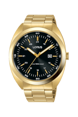 orus Gents Gold Strap With Black Face Analogue 100 Metre Water Resist With Date Watch_0