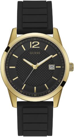 Guess Perry Quartz Analogue Gents Watch With Silicone Strap And Gold Face_0