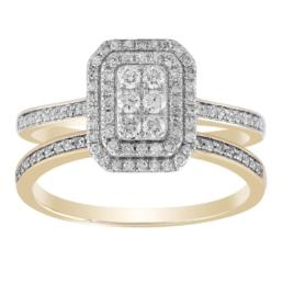9ct Yellow Gold Diamond Cluster Wedder And Engagement Set .50Ct Tdw_0