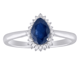9ct White Gold Pearshaped Sapphire And Diamond Ring_0