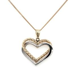 9ct Gold 2 Tone Heart Pendant exclueds Chain_0