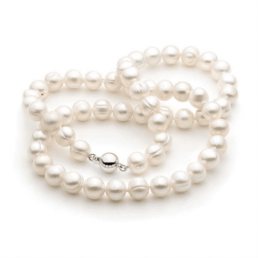 White Pearl Strand Fresh Water 8-9mm Fresh Water Silver Clasp_0
