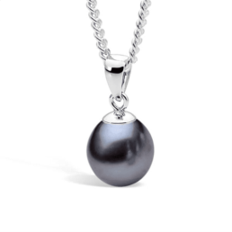 Silver Black Dyed Fresh Water Pearl Pendant_0