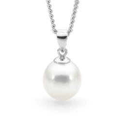 White Pearl Fresh Water Pearl Pendant with Silver Chain_0