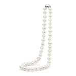 White Pearl Near Round Fresh Water Necklace 45cm_0