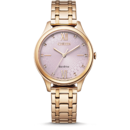 Rose Gold ladies Eco Drive Pink Dial 50mtr_0