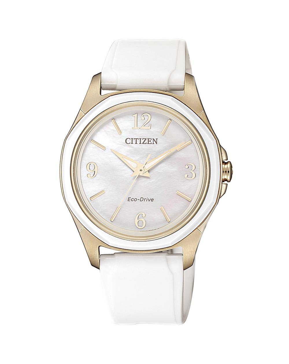 Citizen Ladies Eco Drive Rose Gold Watch with White Resin Strap 100mtrs_0