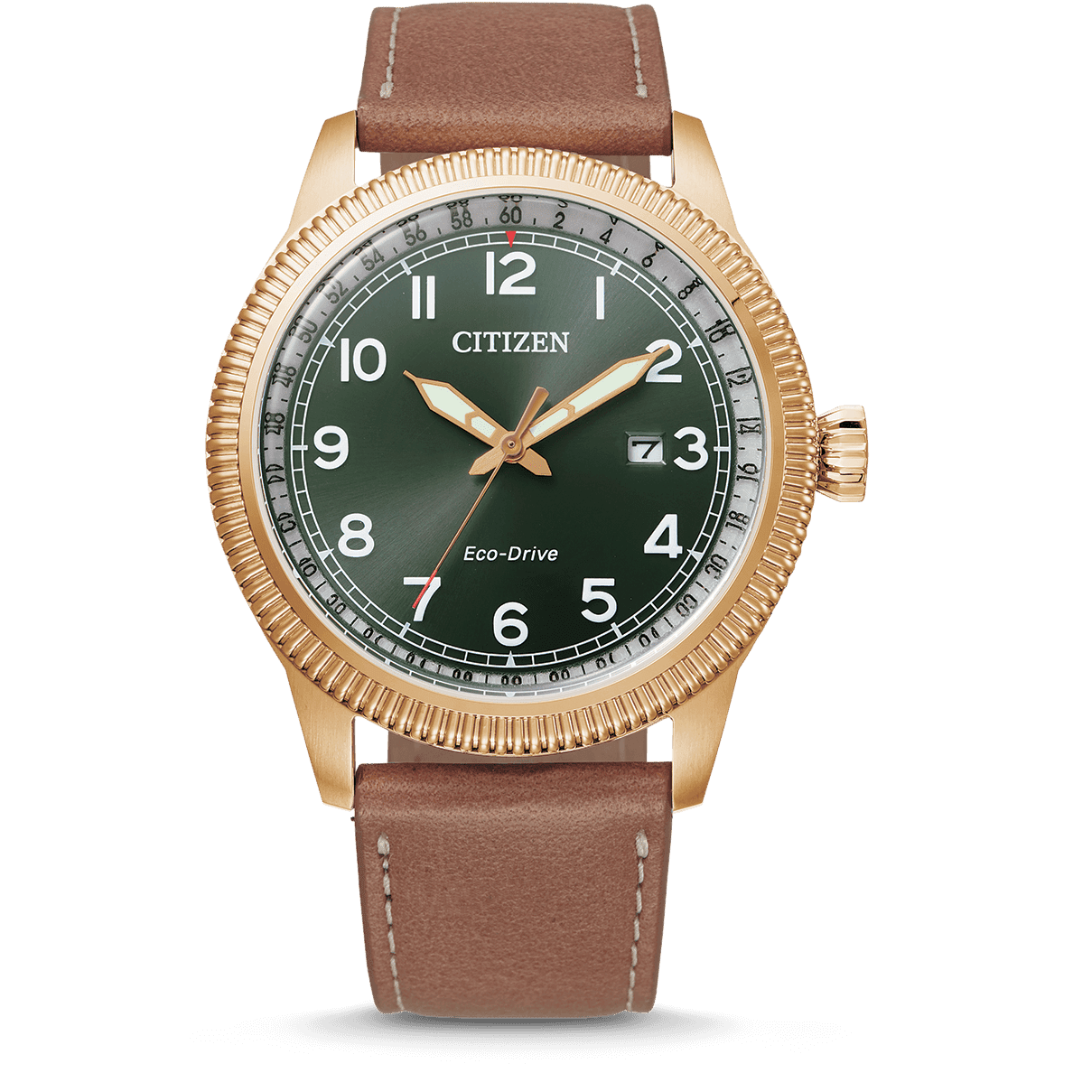 Citizen Gents Eco Drive Brown Leather Strap Green Dial 100mtr_0