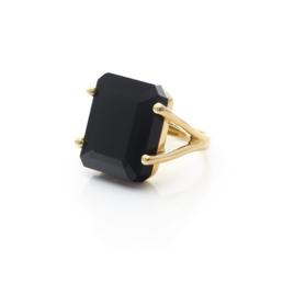 Silk And Steel Prima Donna Emerald Cut Black Spinel Set In Gold Plated Setting_0