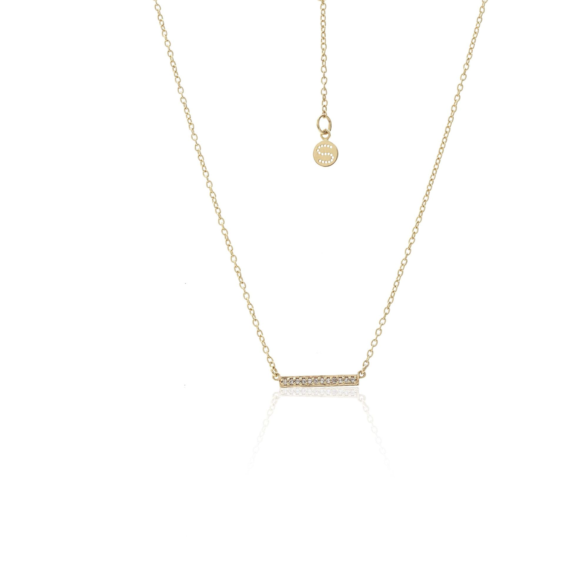 Silk And Steel Superfine Bar Necklace Gold Plated + White Topaz_0