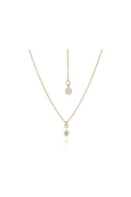 Silk and Steel Star Necklace - Gold Plated with White Topaz_0